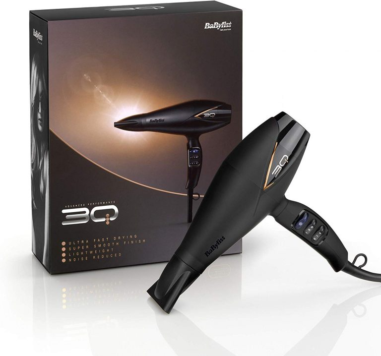Image of the black Babyliss 3q Hair Dryer and its box