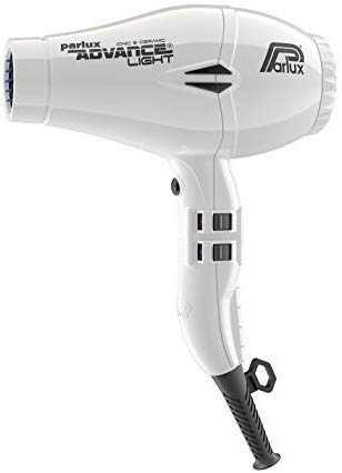 Image of the white Parlux advance light Ionic and Ceramic hairdryer