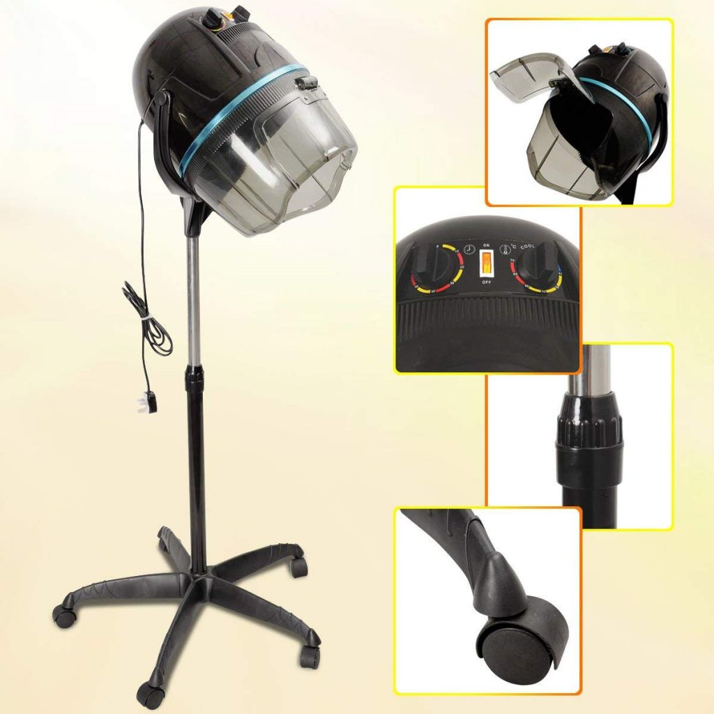 Image of the Costway hooded hairdryer and its various settings