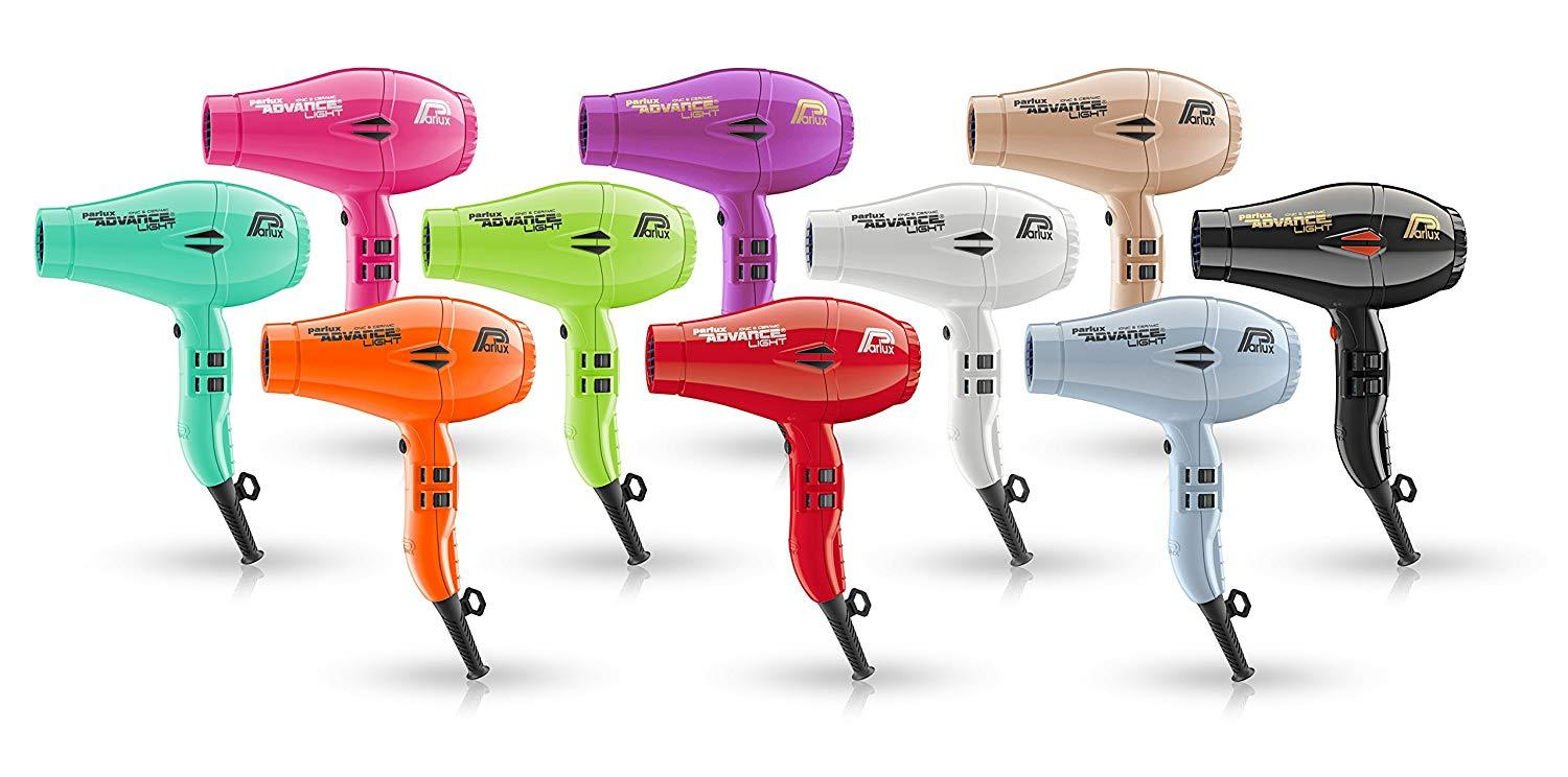 Image of 10 of the same Parlux Advance Light hair dryers but all in different colours